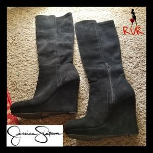 JESSICA SIMPSON SUEDE KNEE HIGH WEDGE BOOT SIZE 7